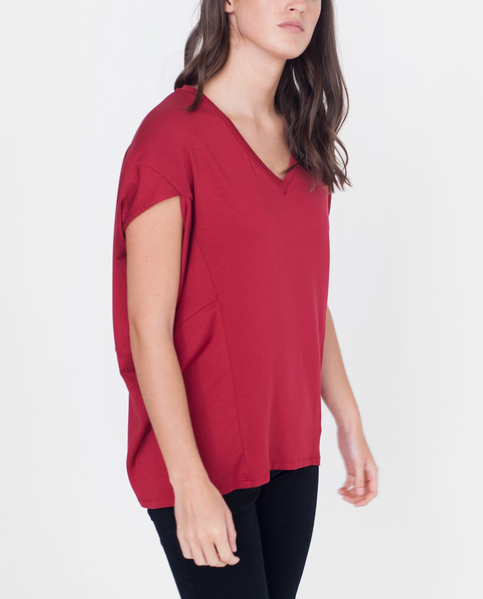 REID-LEE Lyocell Jersey Top In Red