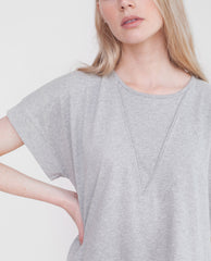 RILEY Organic Cotton Tunic Top In Light Grey