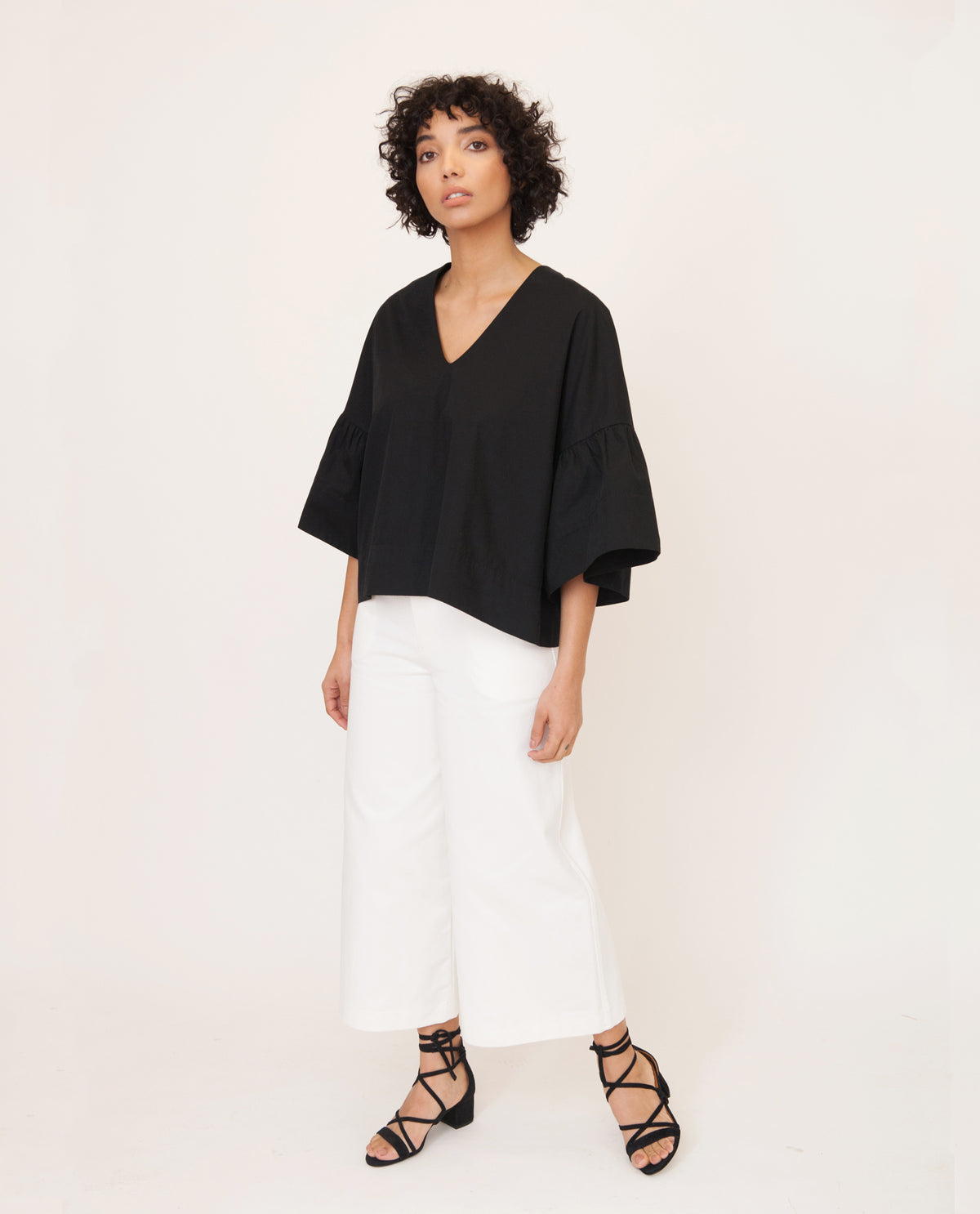 RITA-MAE Cotton Poplin Top In Black