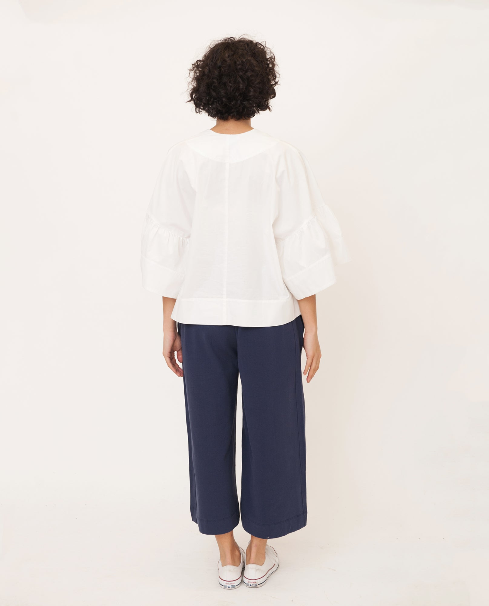 RITA-MAE Cotton Poplin Top In White