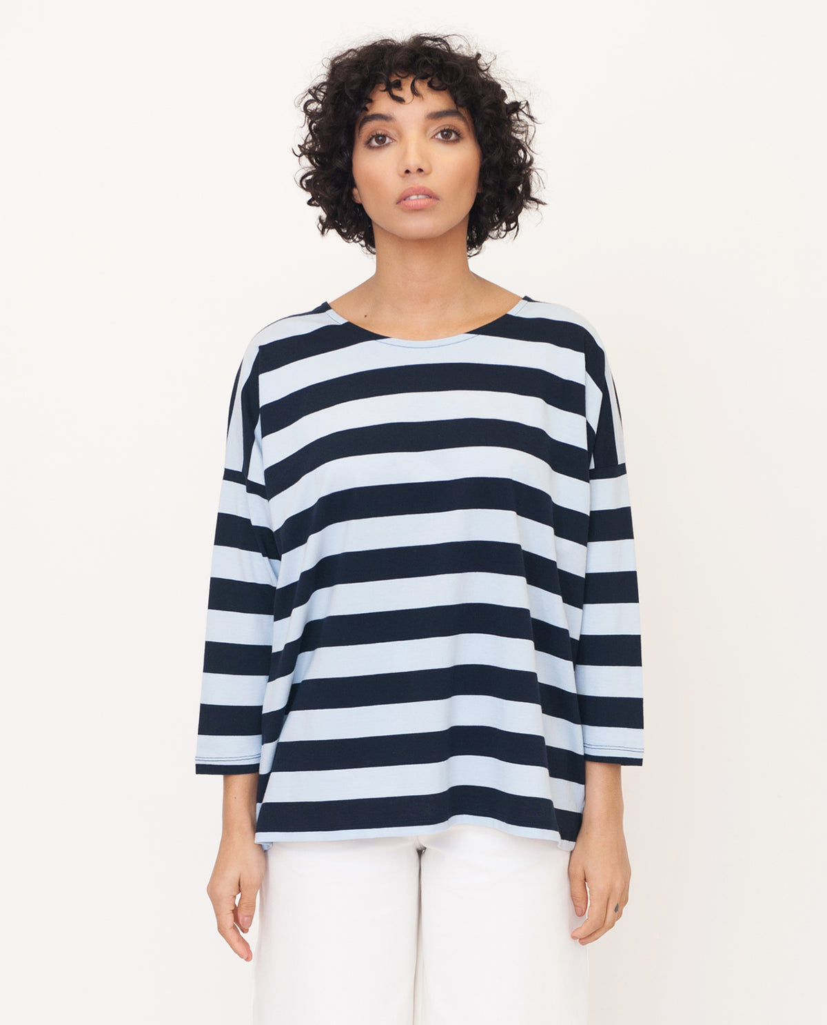 ROSIE Organic Cotton Top In Navy And Blue