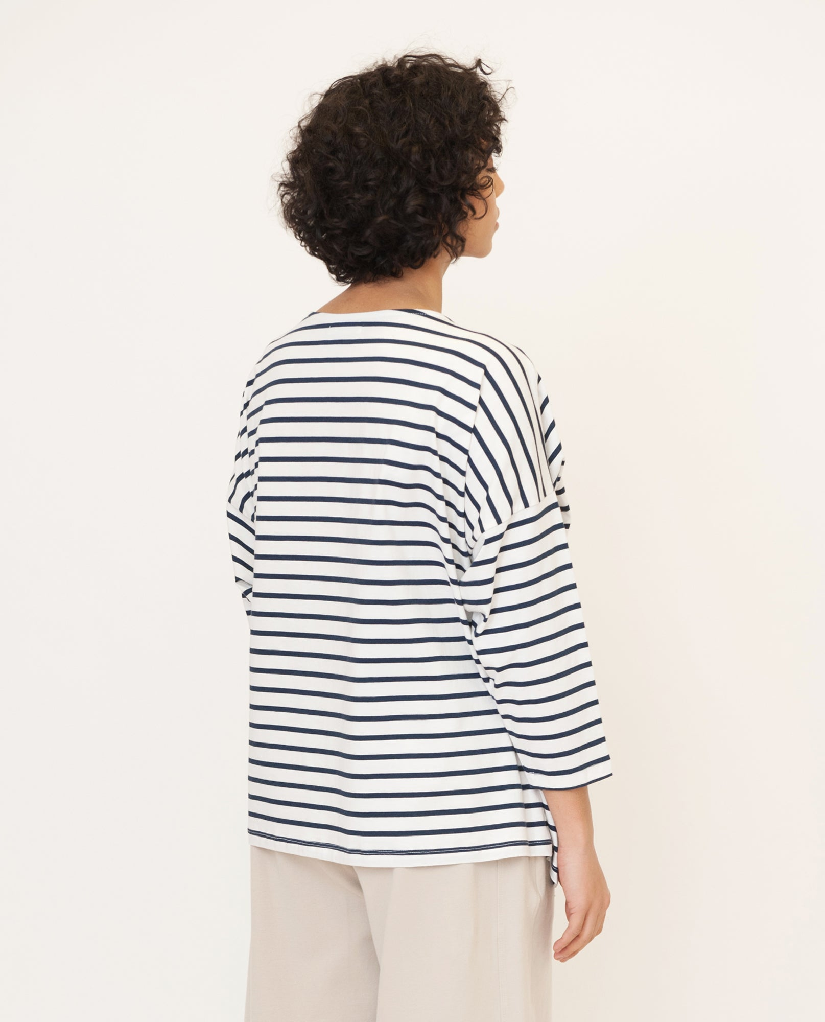 ROSIE Organic Cotton Top In Navy And Cream