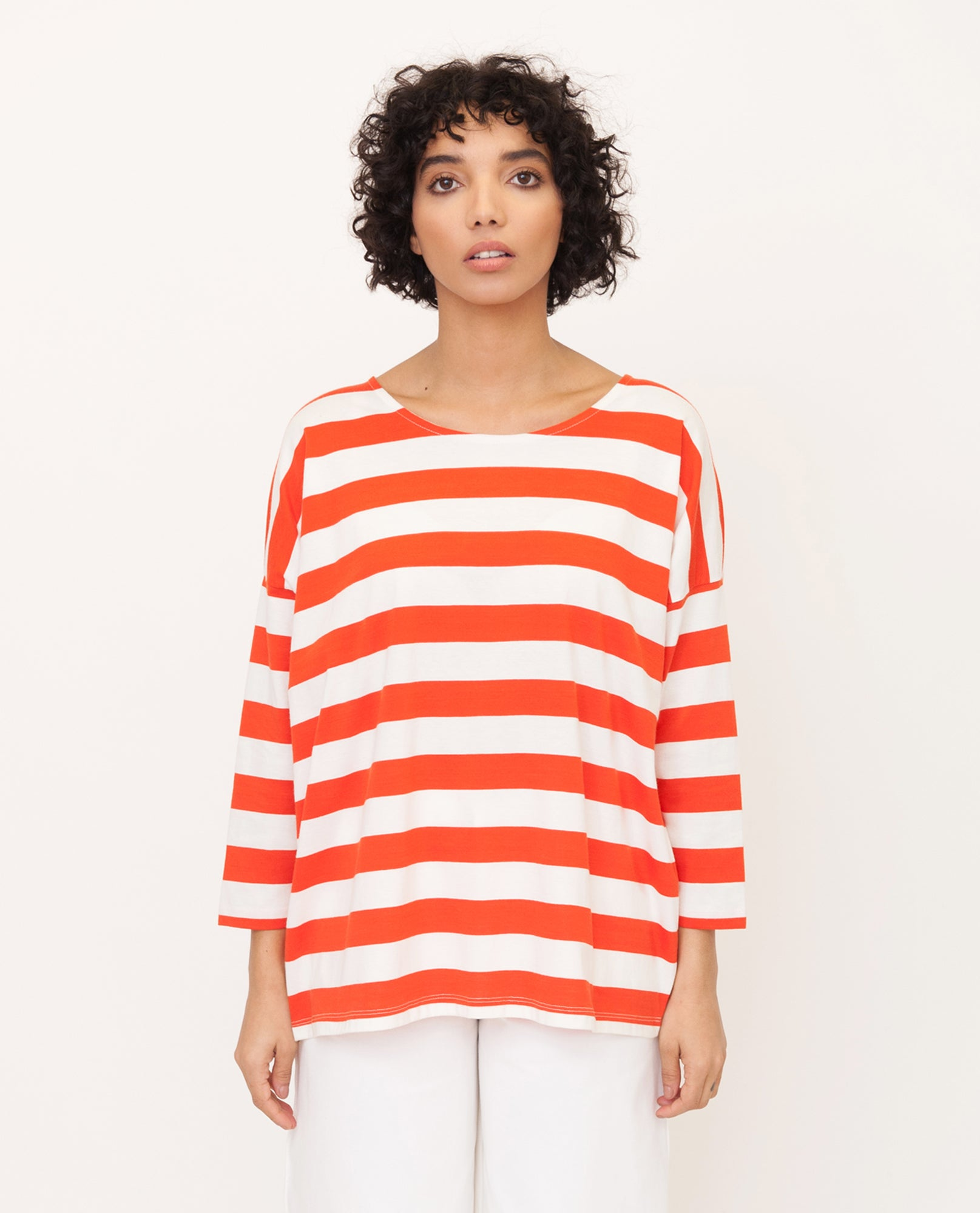ROSIE Organic Cotton Top In Red And Cream from Beaumont Organic