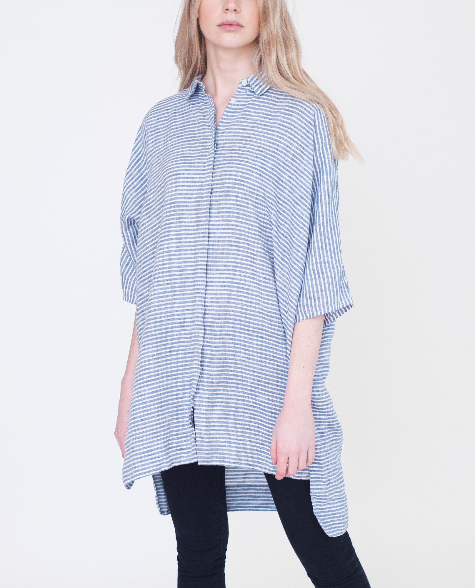 ROWENA Linen Striped Shirt from Beaumont Organic