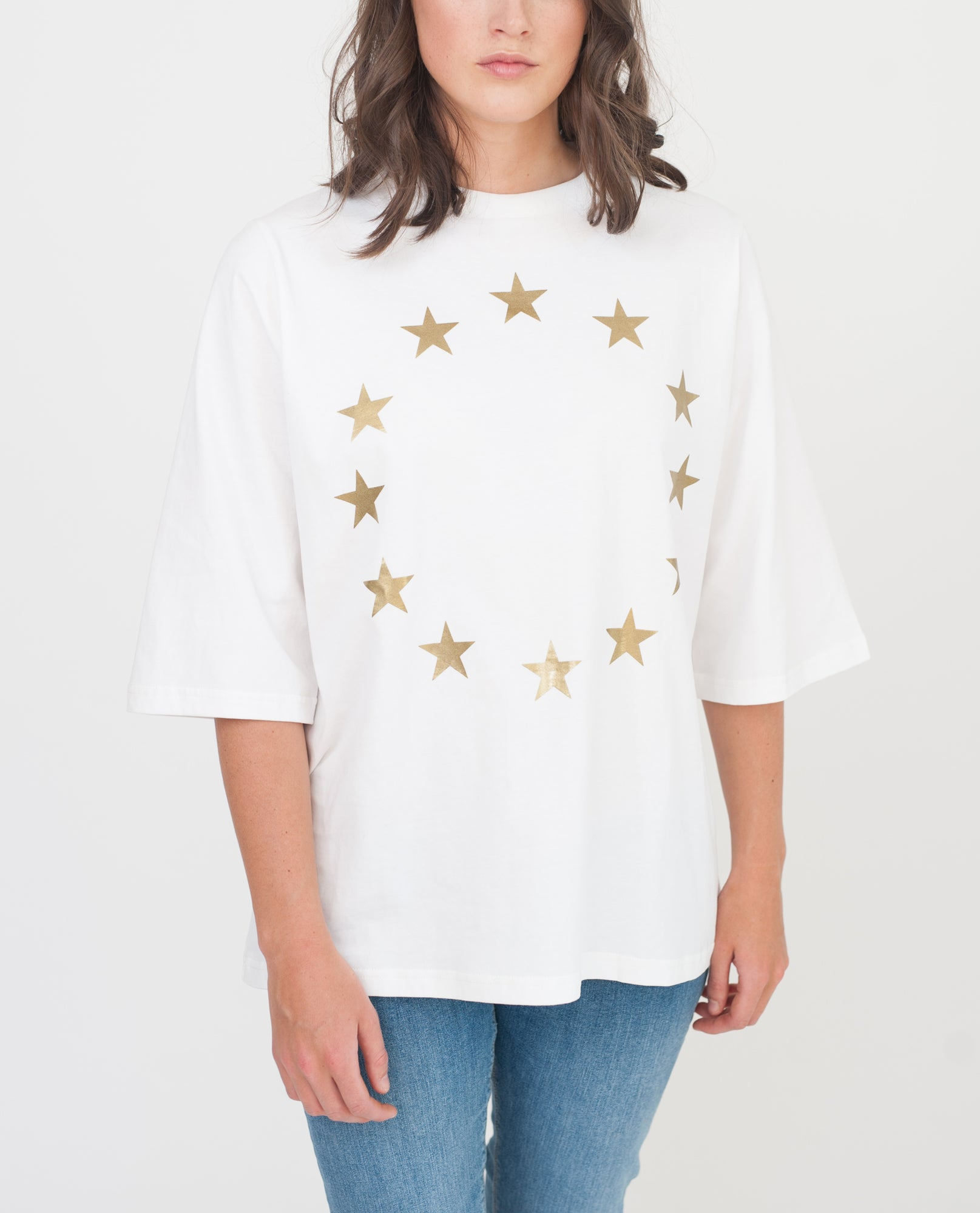 RYLAN Organic Cotton Print Tshirt In White And Gold