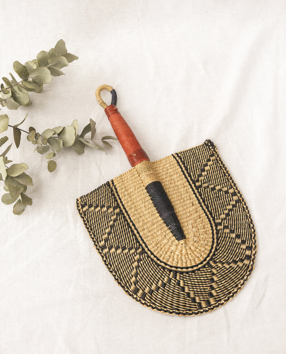 SELASIE Straw Hand Fan With Leather Handle