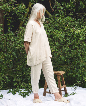 Leonor Linen Top In Cream.