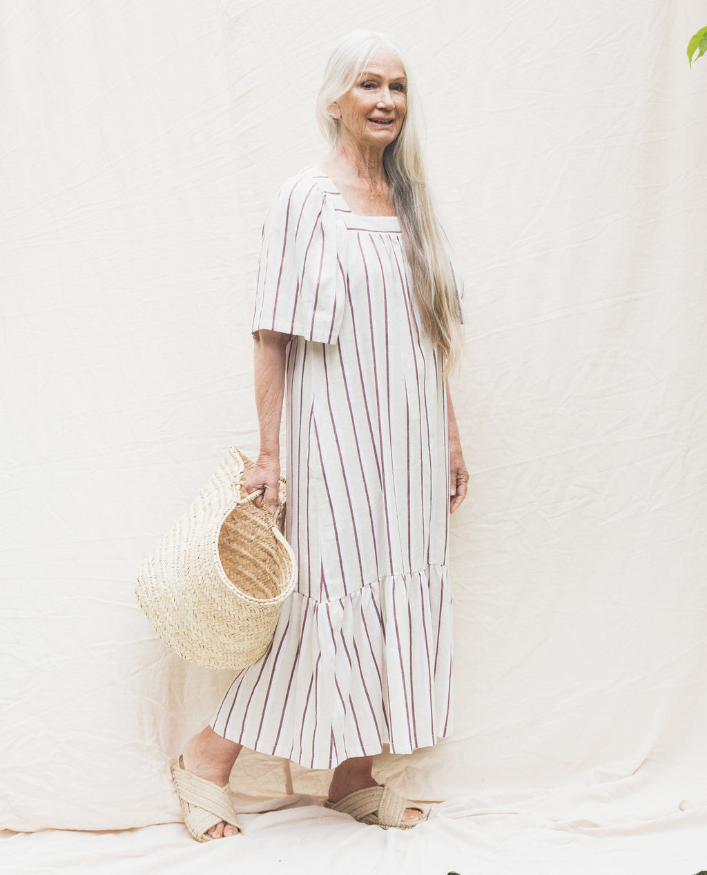 Lesley-Sue Linen Dress In Cream & Plum.