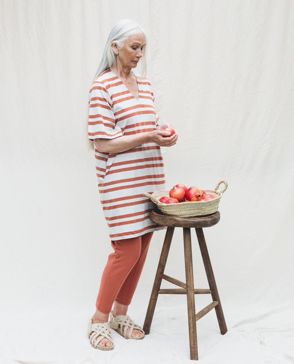 Sasha-Sue Organic Cotton Dress In Beige & Clay.