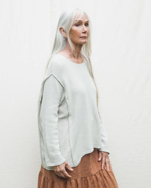 Alessandra Recycled Cotton Jumper In Ivory.
