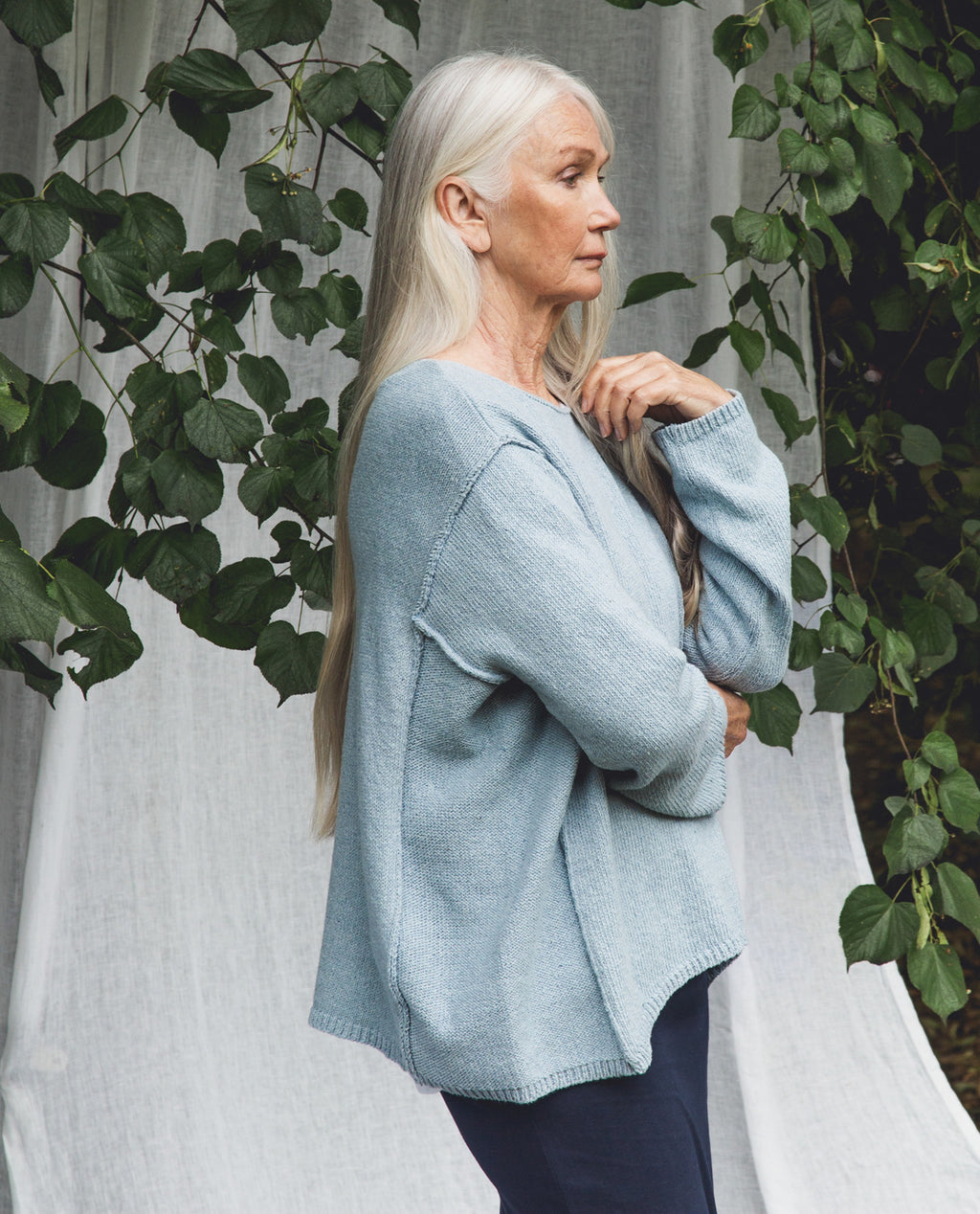 Alessandra Recycled Cotton Jumper In Pale Blue.