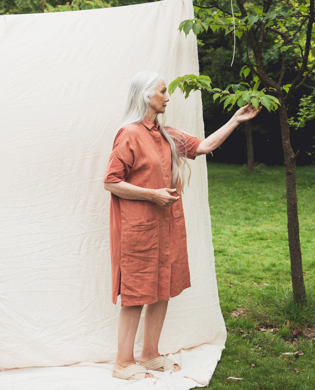 Natasha-May Organic Cotton & Linen Dress In Clay