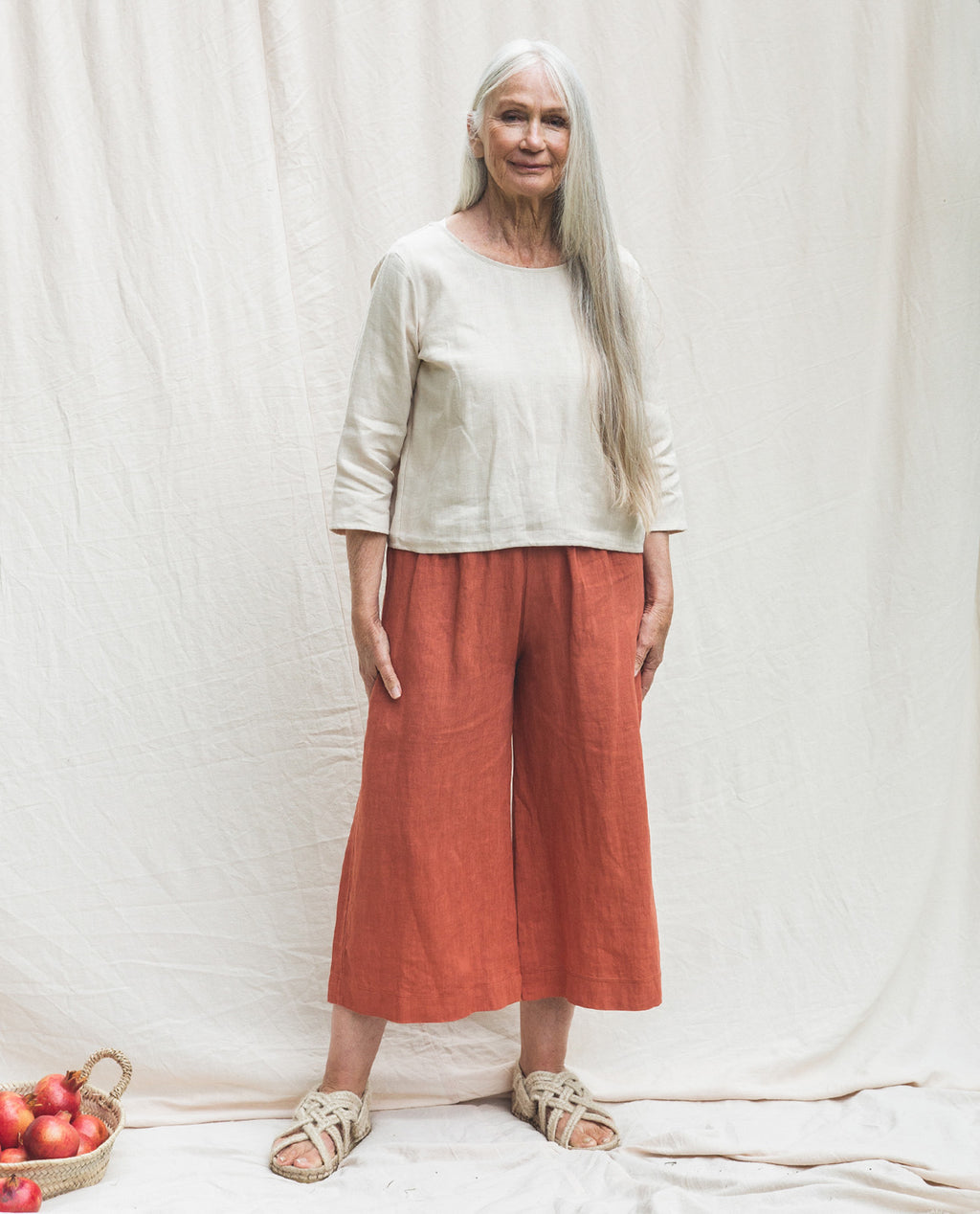 Nicole-May Linen Trousers In Clay.