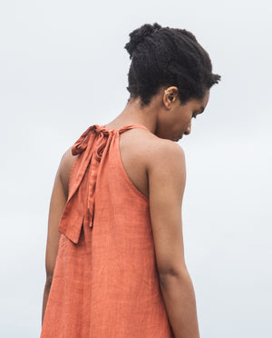 Priya Linen Dress In Clay.