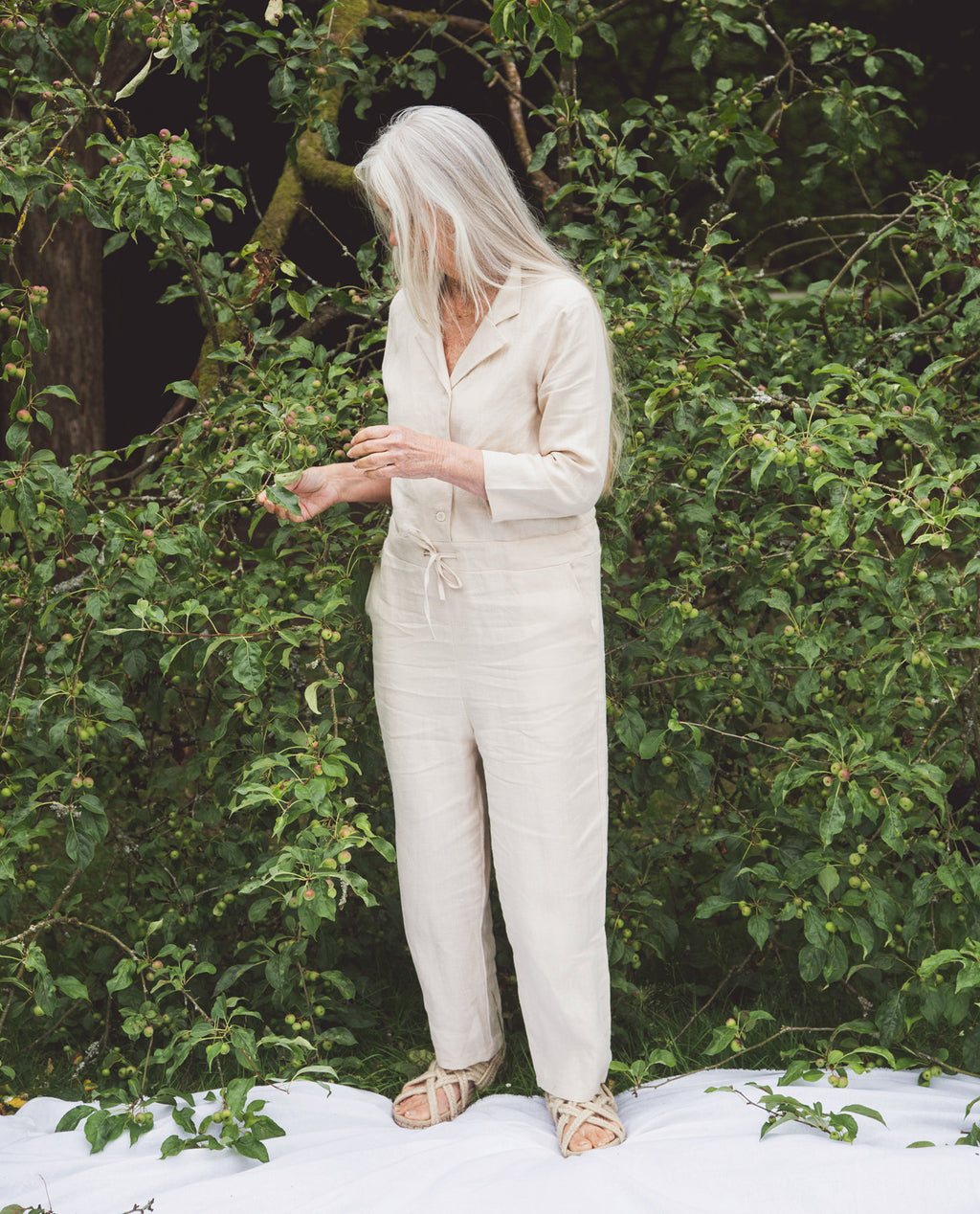 Sabella Linen Jumpsuit In Cream