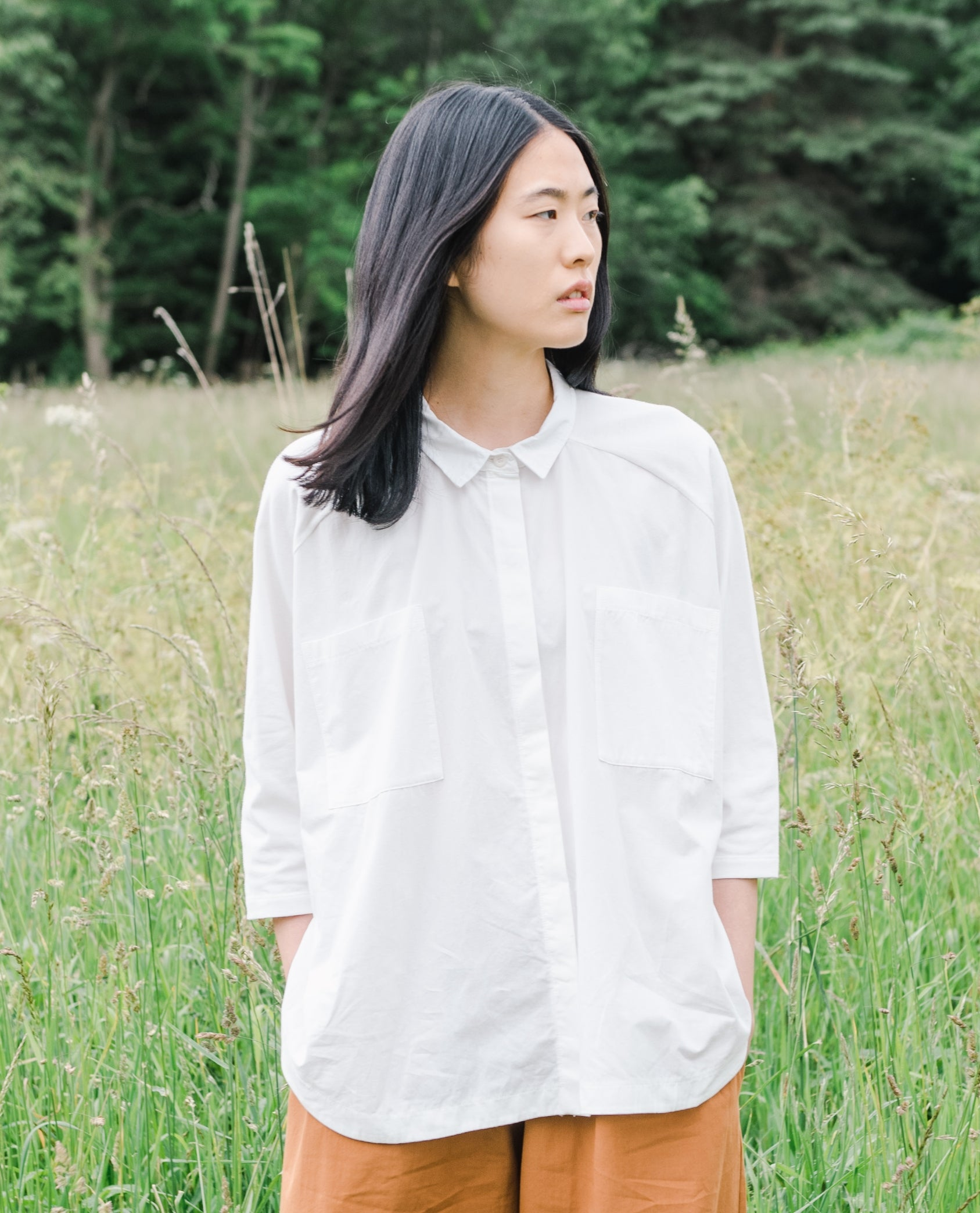 Stephanie Organic Cotton Shirt In Off White.