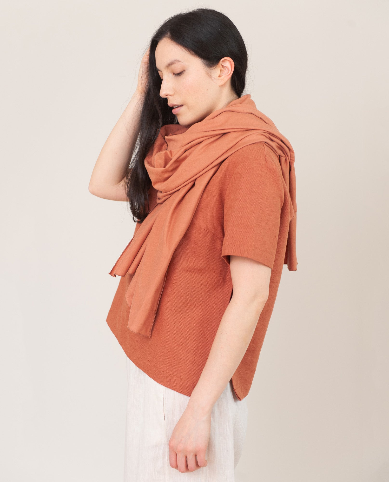 SAFIRA Organic Cotton Scarf In Terracotta