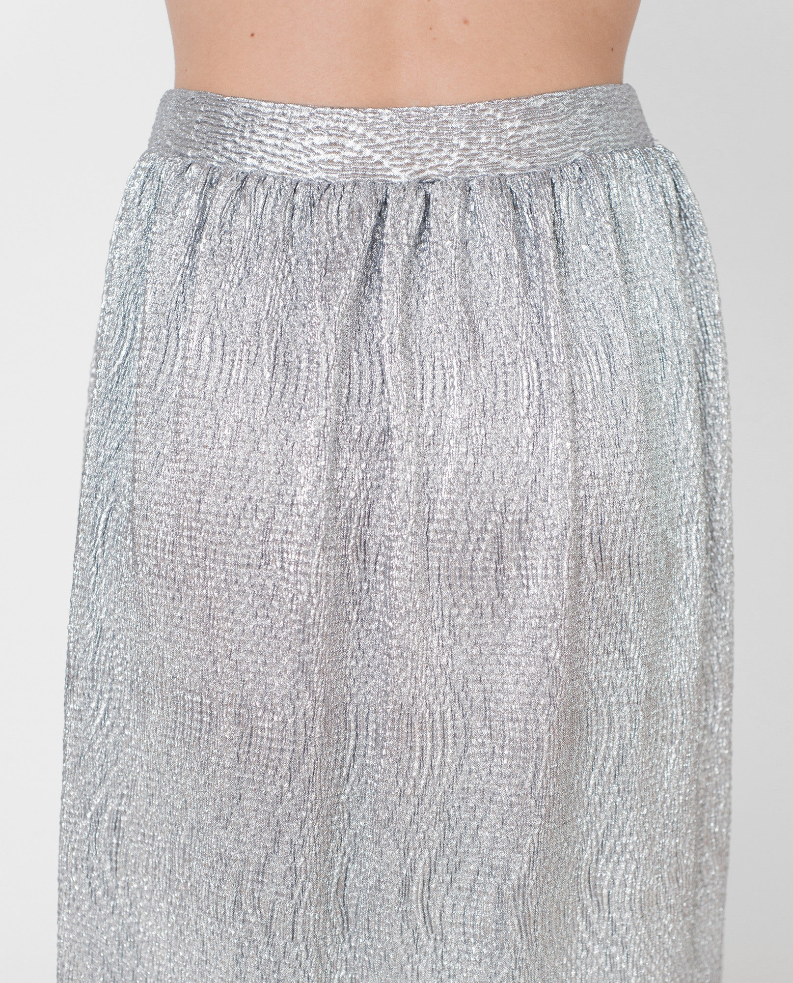 SAIDA Lamé Midi Skirt In Gun Metal