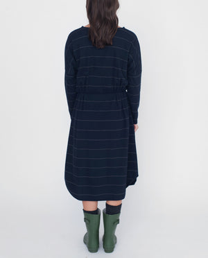 SARAH Organic Cotton Dress In Navy And Dark Grey