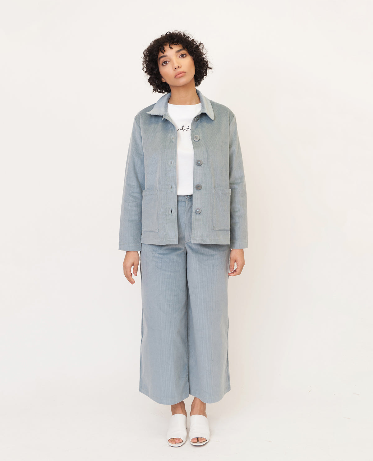 SHARON-ANN Organic Cotton Corduroy Jacket In Sage