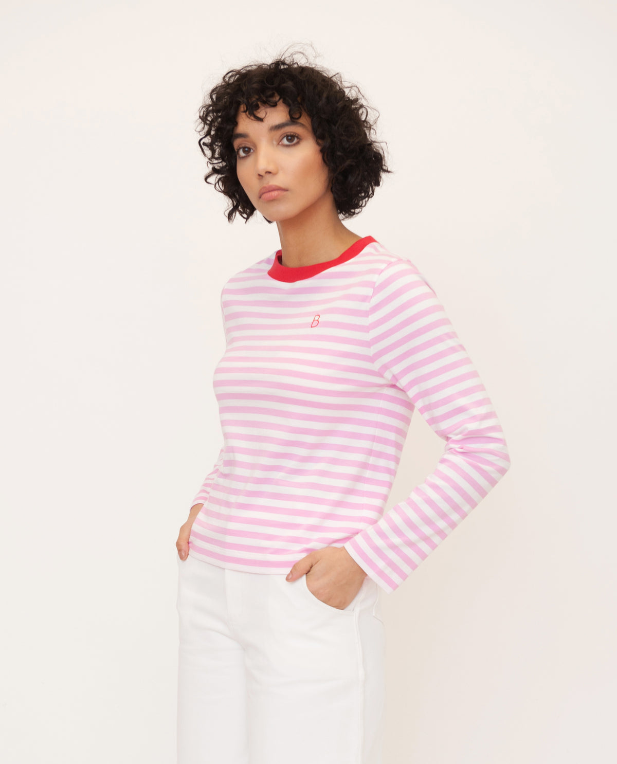 SHOBA Organic Cotton Top In Pink And Red