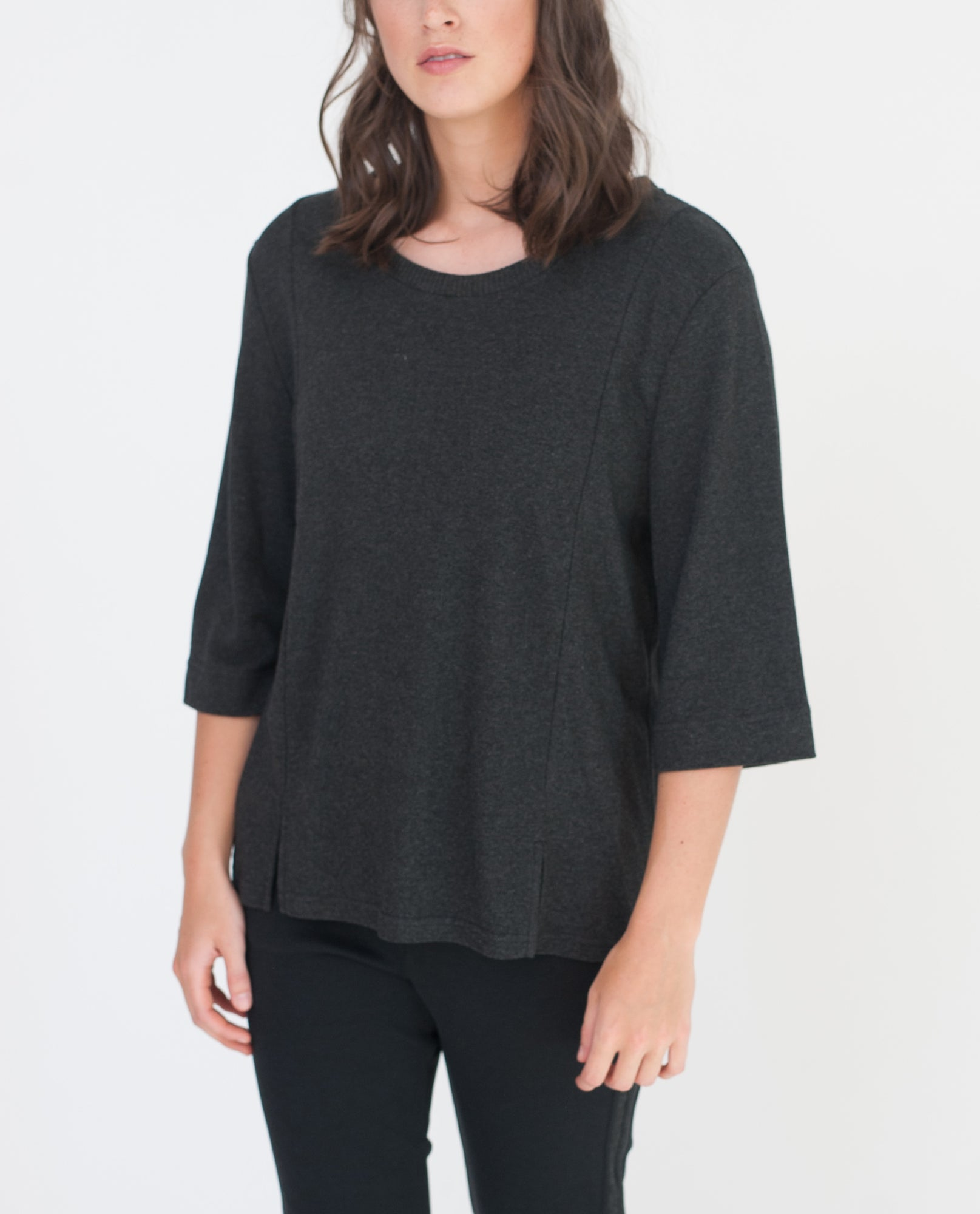 SIYA Lyocell And Cotton Top In Dark Grey from Beaumont Organic
