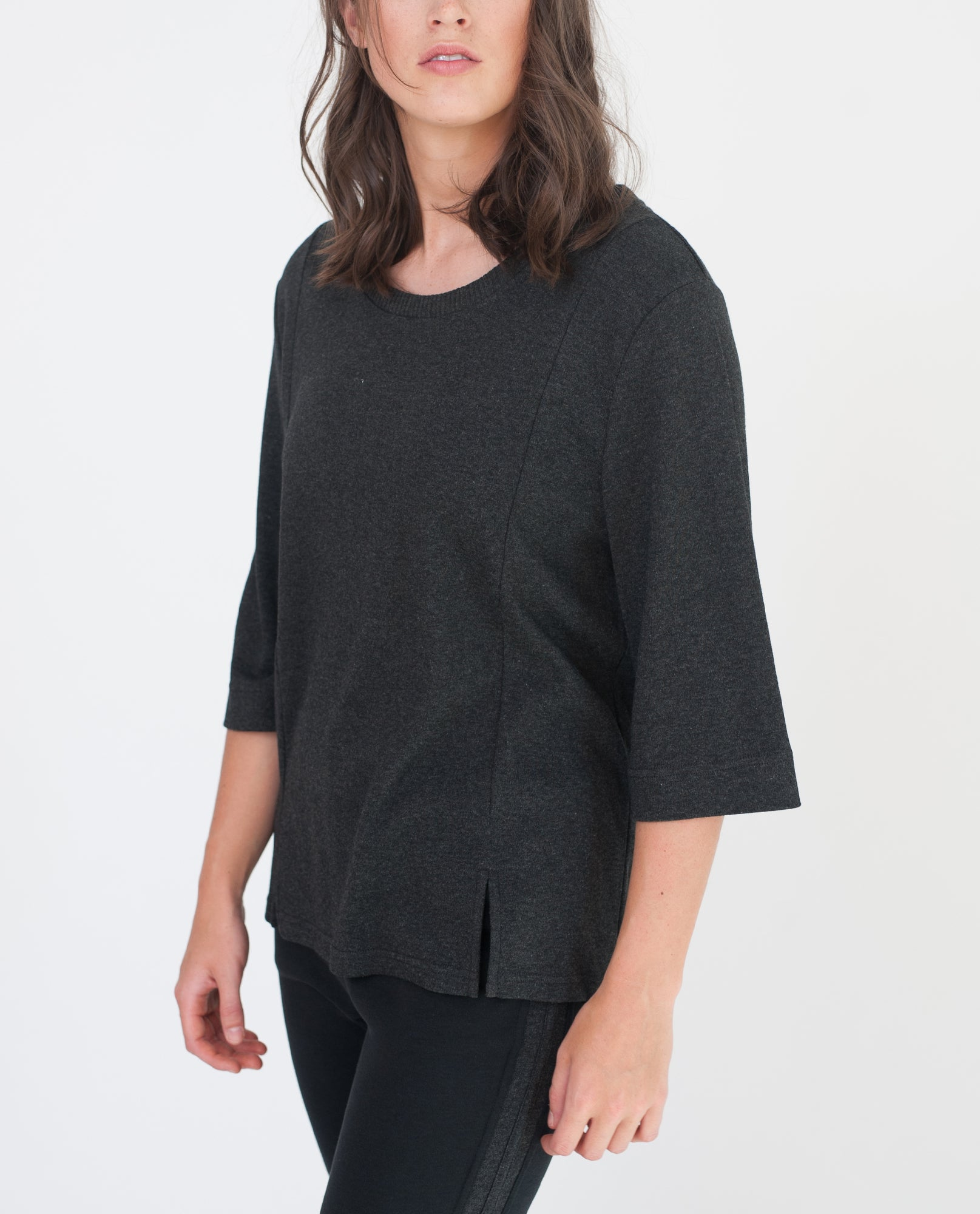 SIYA Lyocell And Cotton Top In Dark Grey