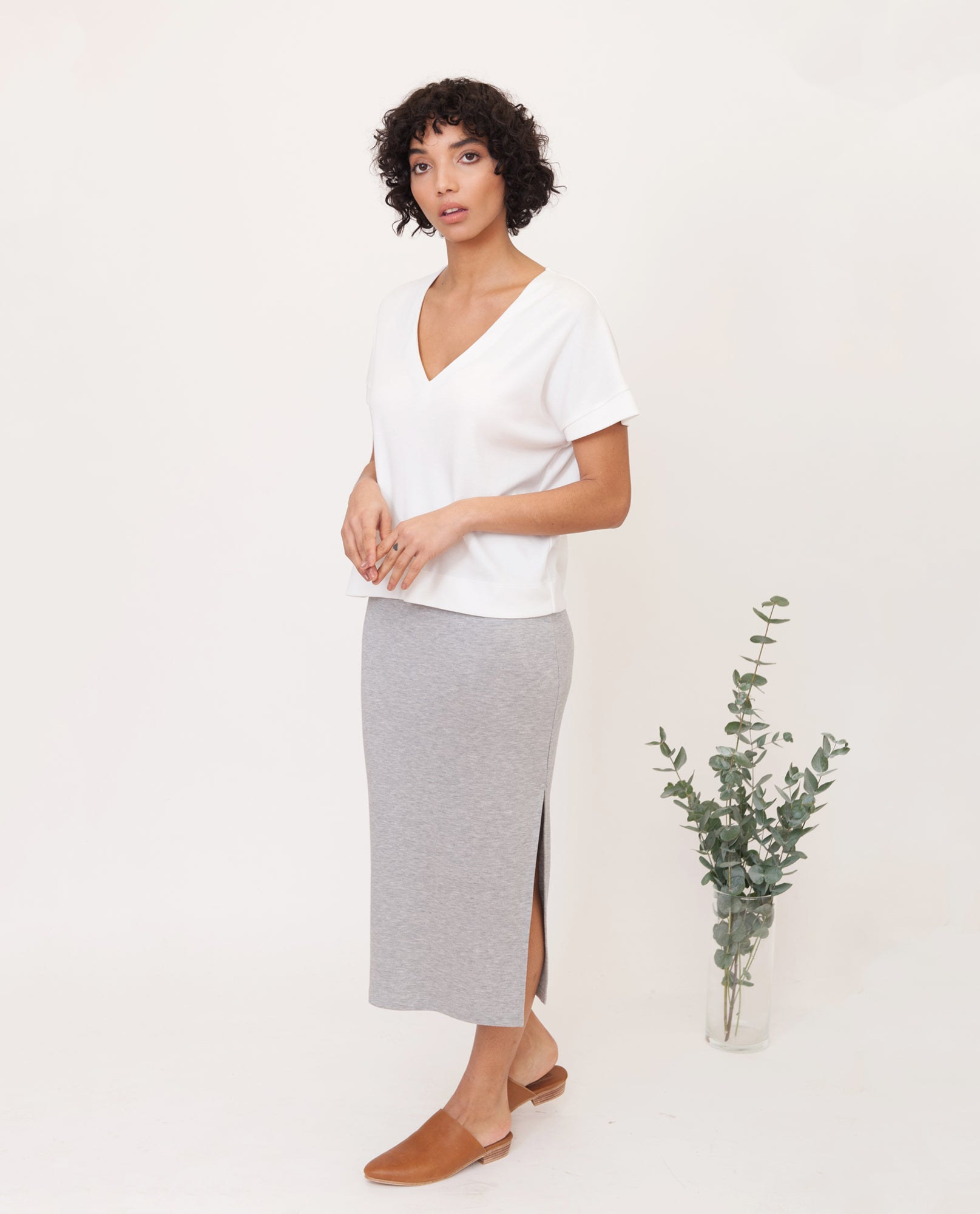 SUZANNE Lyocell Skirt In Grey Marl