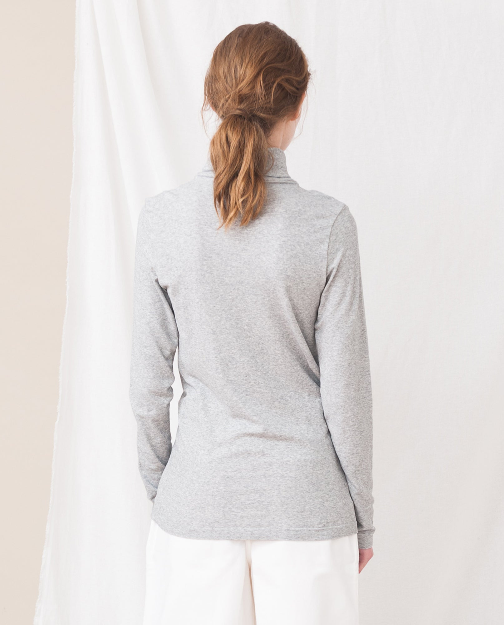 TRICIA Cotton And Lyocell Roll Neck Top In Light Grey