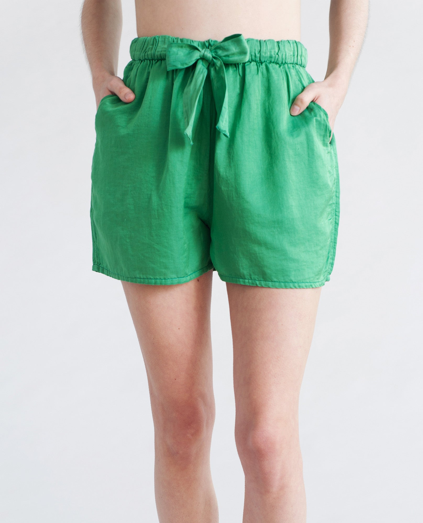 TANSY Cotton And Silk Shorts In Bright Green