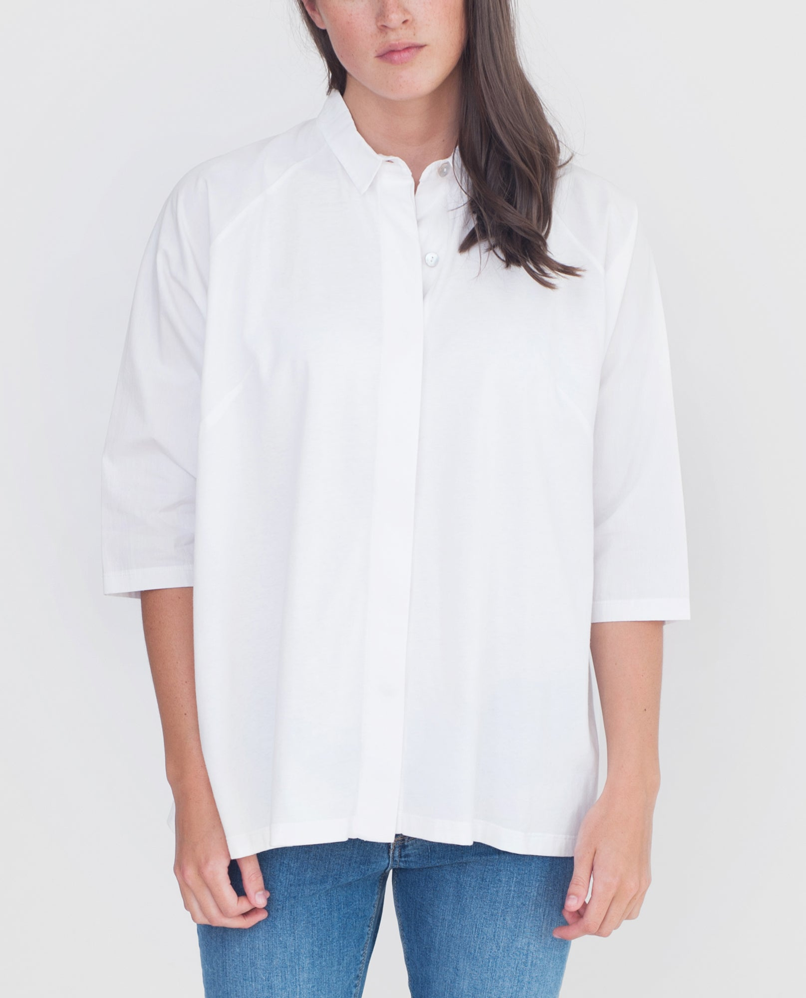TERRY Organic Cotton Shirt In White from Beaumont Organic