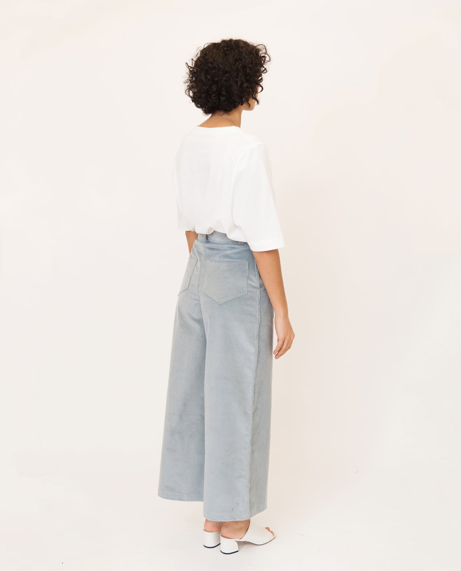 TRACEY-ANN Organic Cotton Corduroy Trousers In Sage