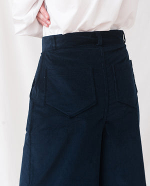 TRACEY Organic Cotton Cord Trousers In Navy