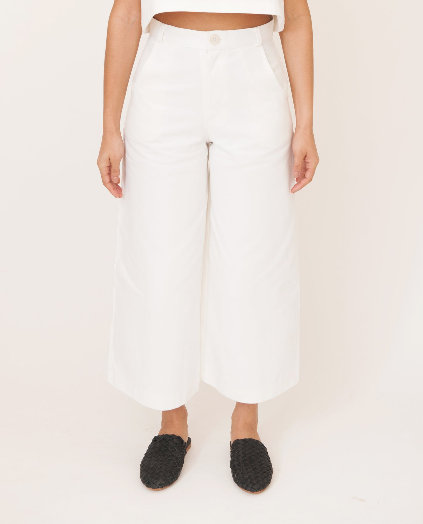 TRACEY-MAY Cotton Denim Culotte Trousers In White