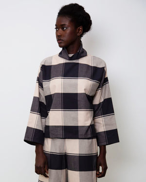 Ula-Cay Organic Cotton Top In Bold Check