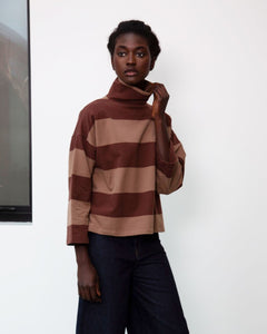 Ula-Sue Organic Cotton Top In Chocolate & Mocha
