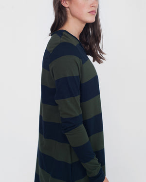 VICKY Organic Cotton Dress In Navy And Green