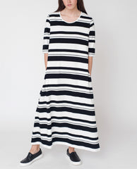 VICTORIA Organic Cotton Maxi Dress In Black And Off White