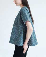 YURIKO Wool Printed Top In Blue/Green