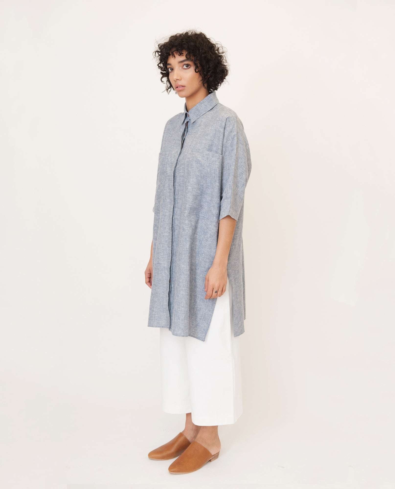 YVONNE-JANE Hemp And Organic Cotton Shirt In Navy Speckle