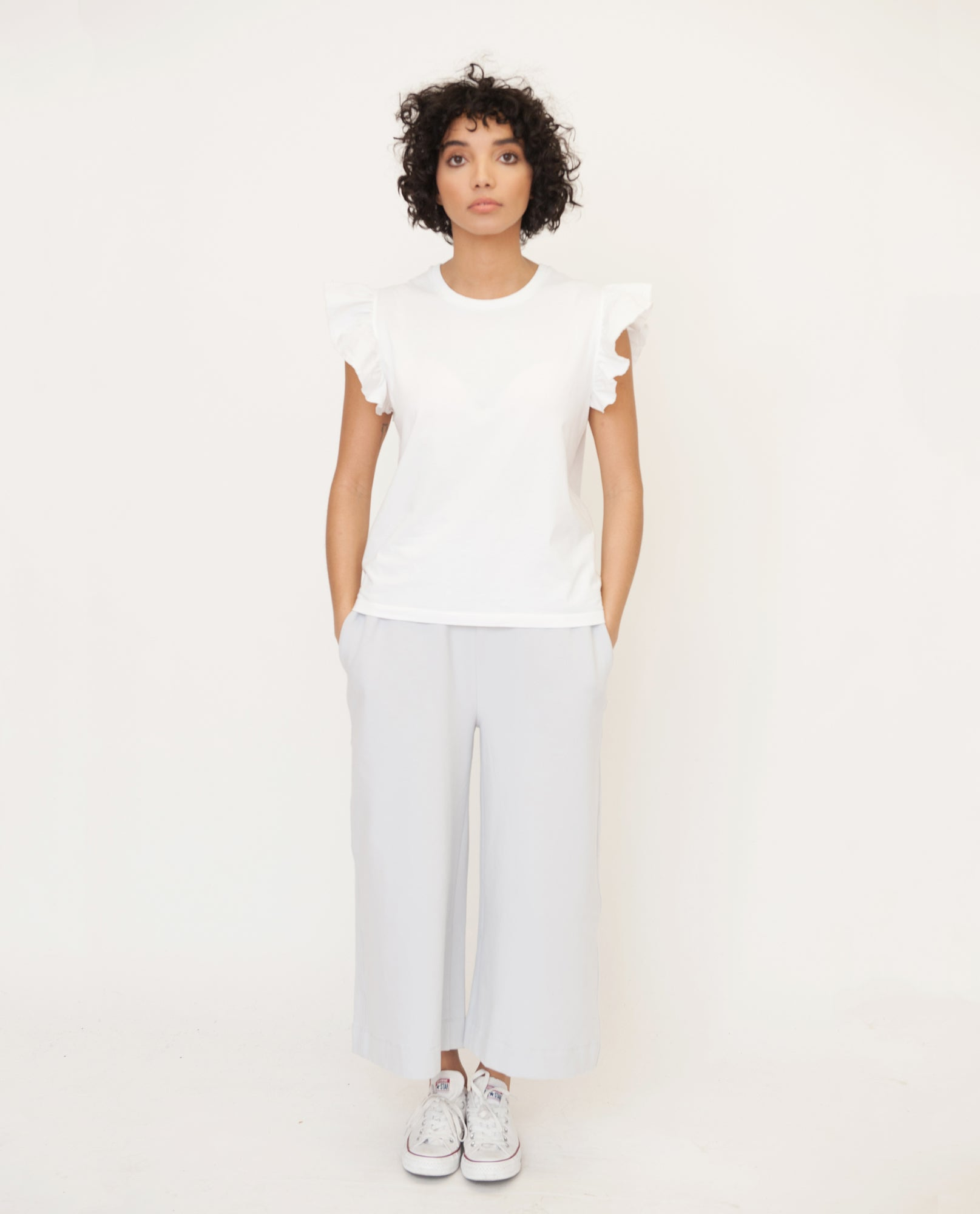 ZOOEY Organic Cotton Top In White from Beaumont Organic