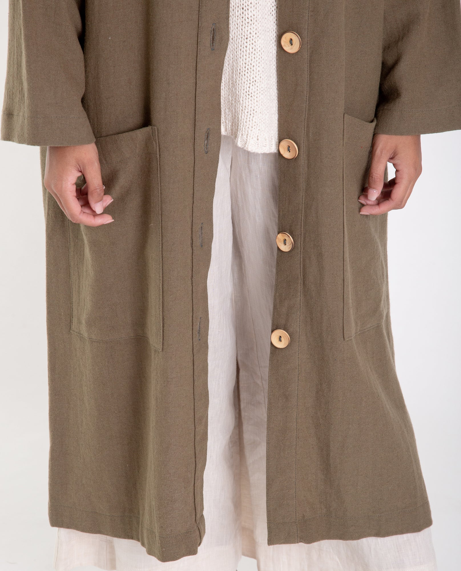 ABBEY Linen Jacket In Khaki