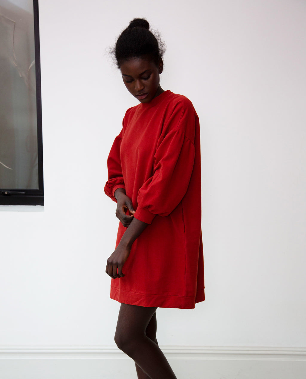 Abigail Organic Cotton Dress In Rust