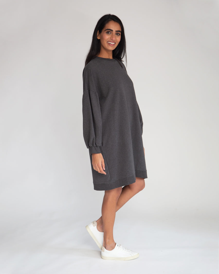 Abigail Organic Cotton Dress In Dark Grey Marl