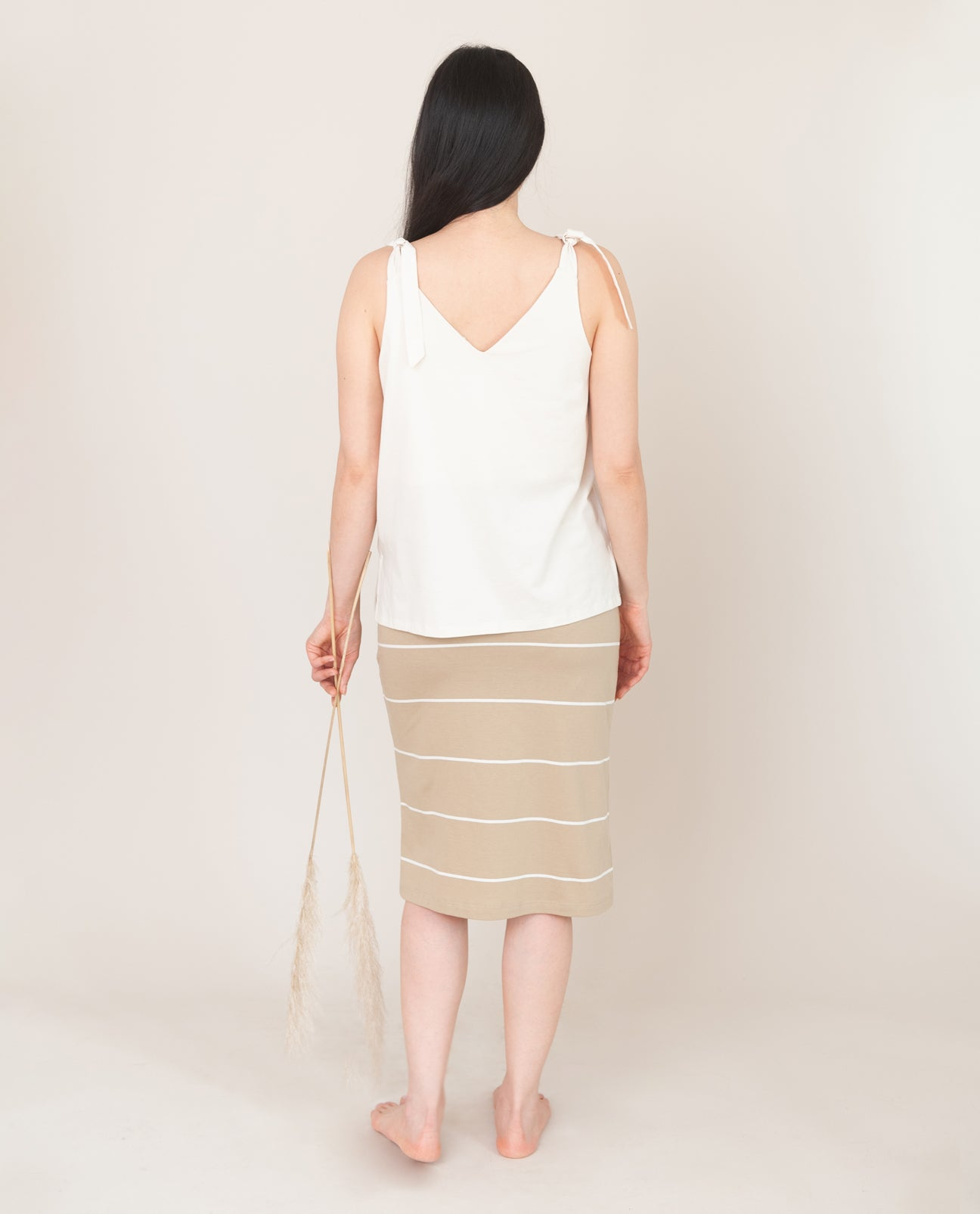 ADDISON Organic Cotton Skirt in Sand And Ecru