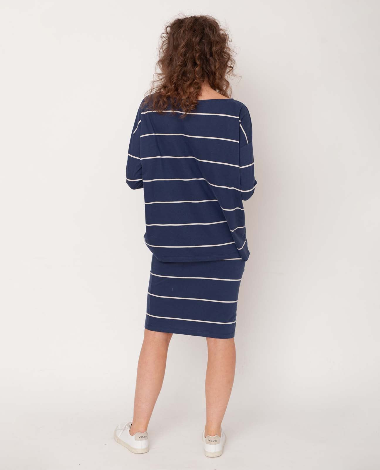 Addison-Sue Organic Cotton Skirt In Midnight & Natural
