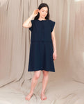 ADELE Cotton and Linen Dress In Navy