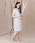 ADELE-SUE Linen Dress In Grey And White