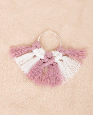 ADELE IVY Short White and Lilac Tassel Silver Hoop Earring