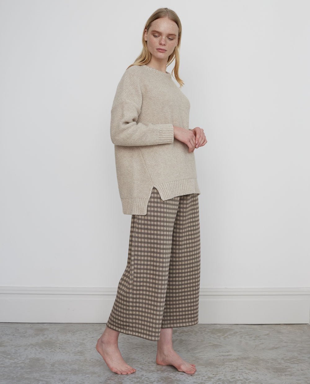 ADRIENNE-JAY Organic Cotton Trousers In Mini Brown Check